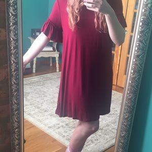 Boho burgundy t shirt dress